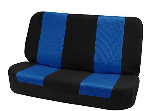 FH GROUP FH-FB102010 Classic Cloth Bench Seat Covers Blue / Black Color- Fit Most Car, Truck, Suv, or Van