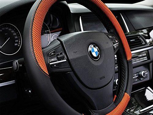 Auto Car Steering Wheel Cover Anti-slip Microfiber Leather with Viscose Universal 15″/38cm Orange