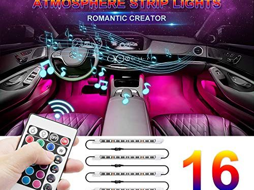 Car LED Strip Light, Wsiiroon Newest Style RF Remote Control Car Interior Lights, Upgraded 16 Fixed Colors, Longer Control Distance, Unique Breathing Function, Sound Active FunctionDC 12V