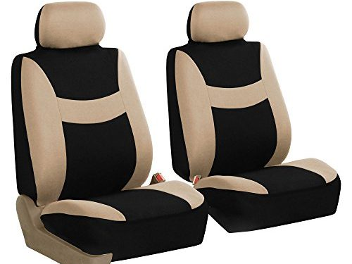 FH GROUP FH-FB030102 Light & Breezy Beige/Black Cloth Seat Cover Set Airbag & Split Ready- Fit Most Car, Truck, Suv, or Van
