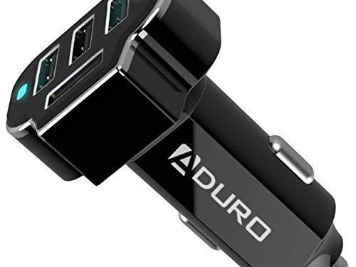 Aduro 4 Port Car Charger Adapter, Fast Car Charger USB Adapter Power Station 5.2A/26W Output Black