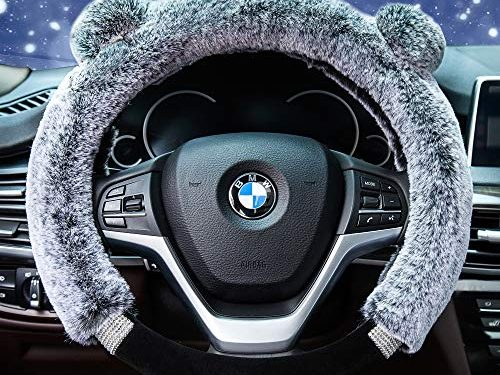 Didida Winter Warm Faux Wool and Bling Diamond Fluffy Fashion Steering Wheel Covers for Women/Girls/Ladies 15 Inch£¬Grey