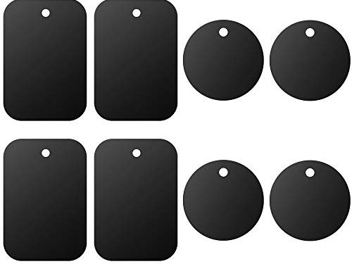 4 Rectangle and 4 Round, Black – Universal Metal Plate 8 Pack for Magnetic Phone Car Mount Holder Cradle with 3M Adhesive Compatible with Magnetic Mounts