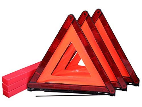 CARTMAN Foldable Warning Triangle Emergency Warning Triangle Reflector Safety Triangle Kit, 3-Pack with Storage Case