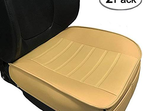 Car Seat Cushion, Edge Wrapping 2PC Car Interior PU Leather Car Seat Cushions Protector Front Car Seat Covers, Single Seat Cushion Cover Pad Mat for Auto Four-door sedan & SUV Driver SeatBeige