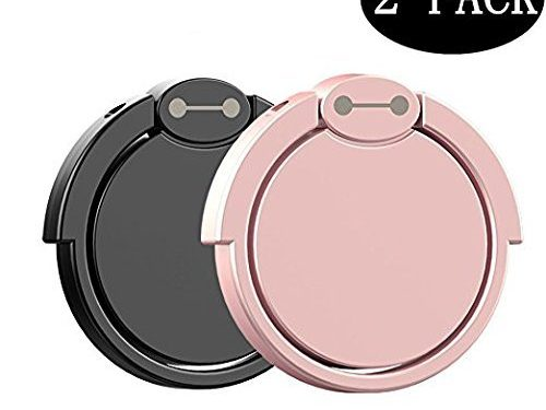 2 Pack Finger Ring Stand, 360° Rotary Cell Phone Holder Finger Loop Grip Mount Universal Smartphone Kickstand Compatible iPhone 6/6s Plus, iPhone 7/7 Plus, Samsung Galaxy S8/S8 -Black+ Rose Gold