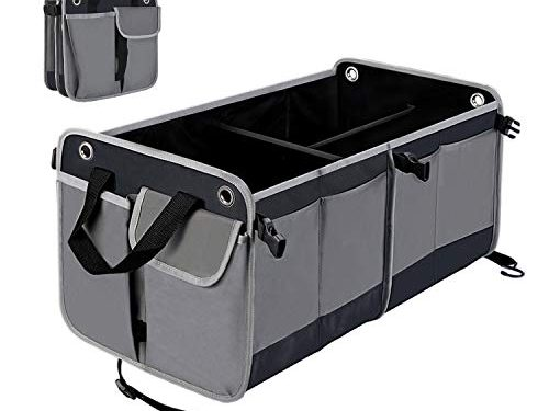 HiHiLL Car Trunk Organizer for SUV Truck Auto Durable Collapsible Cargo Storage, Non Slip Bottom Strips to Prevent Sliding, Premium 26 inch Divisible Multi-compartments Cargo