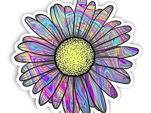 Vinyl Junkie Graphics Daisy Flower Sticker for Car Truck Windows Laptop Any Smooth Surface Waterproof Tie Dye