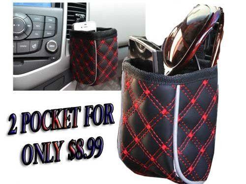 2 Car Air Vent Mobile Phone Holder Pocket Debris Storage,Pouch Bag Organizer RED