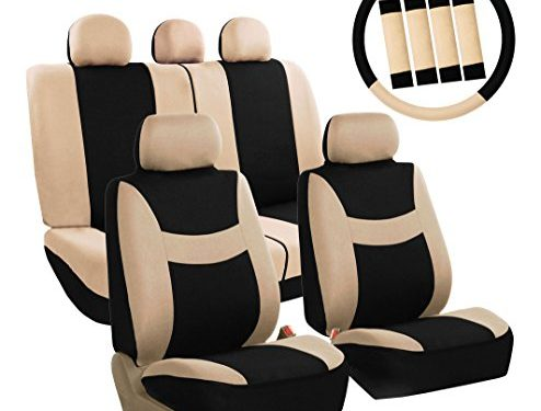 FH Group FB030BEIGEBLACK115-COMBO Seat Cover Combo Set with Steering Wheel Cover and Seat Belt Pad Airbag Compatible and Split Bench Beige/Black