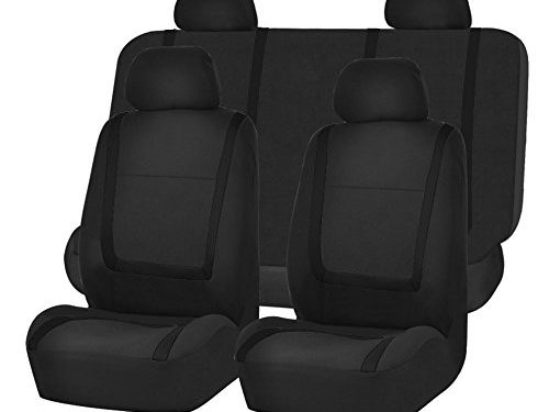 FH Group FB032BLACK114 Black Unique Flat Cloth Car Seat Cover with 4 Detachable Headrests and Solid Bench