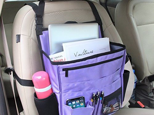 LUXJA Car Front Seat Organizer with Laptop & Tablet Storage, Purple