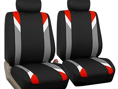 FH Group FB033RED102 Bucket Seat Cover Modernistic Airbag Compatible Set of 2 Red