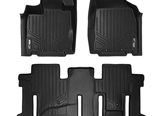 SMARTLINER Floor Mats 2 Row Liner Set Black for 2013-2018 Nissan Pathfinder / 2013 Infiniti JX35 / 2014-2019 QX60