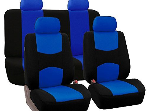 FH Group Universal Fit Full Set Flat Cloth Fabric Car Seat Cover, Blue/Black FH-FB050114, Fit Most Car, Truck, Suv, or Van