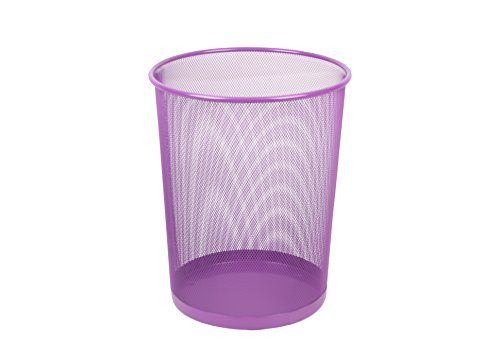 Home Basics 6 Liter Mesh Steel Trash Waste Garbage Can Purple
