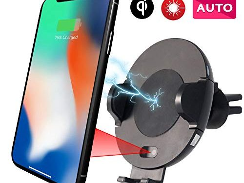 ePWR Wireless Car Charger Mount | Automatic 10W Qi Fast Charging Phone Holder | Iron Clad Vent Grip | Compatible with Apple iPhone X/8/8 Plus, Samsung S9, S8, Note 9