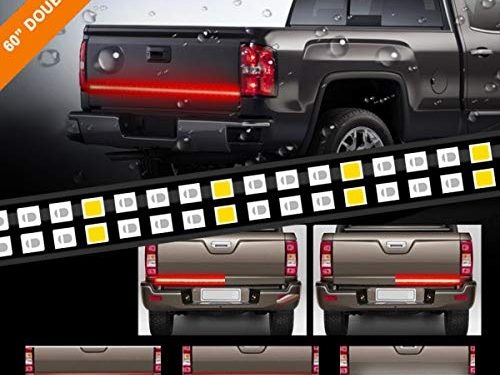 "LPENG 60"" double Rows LED Truck Tailgate Light Bar Strip Red/White Reverse Brake Stop Turn Signal Parking Running Weatherproof No-Drill Installation Universal truck car SUV"