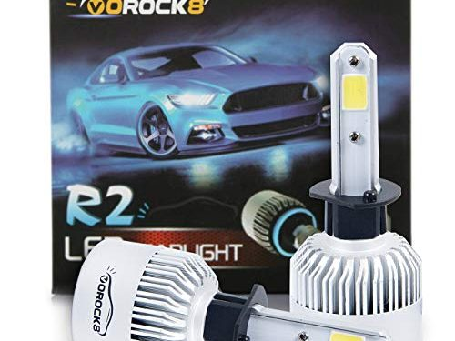 VoRock8 R2 COB H1 8000LM LED Headlight Conversion Kit, High Beam Bulb, Low Beam headlamp, Fog Driving Light, Halogen Head Light Replacement, 6500K Xenon White, 1 Pair- 1 Year Warranty