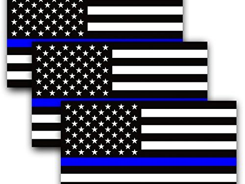 Support Police and Law Enforcement Officers 3 Pack – Anley 5 X 3 inch Thin Blue Line US Flag Decal – Black White and Blue Reflective Stripe American Flag Car Stickers