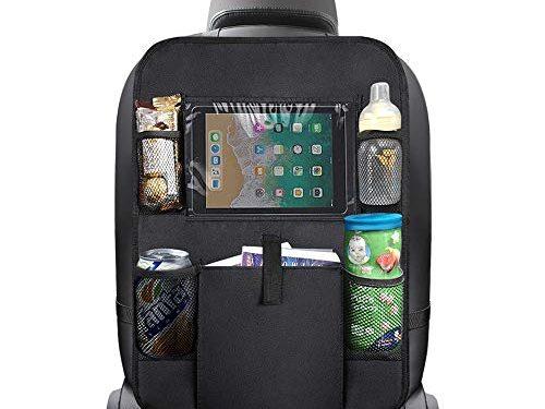 Backseat Car Organizer, Multi-Pocket Car Organizer with Tablet Holder | Updated Premium Materials | Ideal for Car Seat Back Protector & Kick Mat