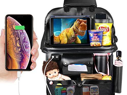 DRIVIM Car Backseat Organizer, Multifunctional Premium PU Leather Travel Car Storage Bags with Foldable Tray, iPad Phone Umbrella Bag, Tissue Box, 3 Mesh Bags, 1 Large Bag 4-USB Port, etc Black