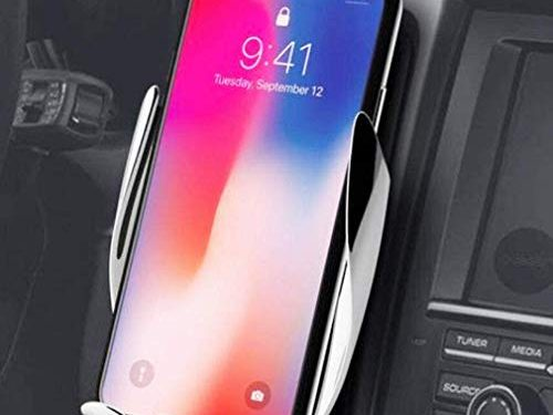 Automatic Clamping Wireless Car Charger Mount – Car Charger Holder for iPhone XR XS Max X 8 8 Plus,10W Fast chargeing for Samsung All.Infrared Motion Sensor Automatic Open and Clamp for Safe Driving