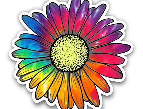 Vinyl Junkie Graphics Daisy Flower Sticker for Car Truck Windows Laptop Any Smooth Surface Waterproof Raindow Tie Dye