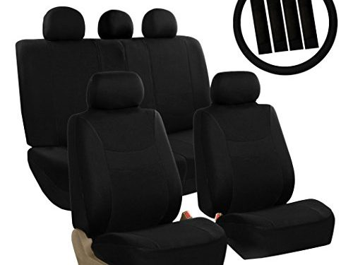 FH Group FB030BLACK115-COMBO Seat Cover Combo Set with Steering Wheel Cover and Seat Belt Pad Airbag Compatible and Split Bench Black