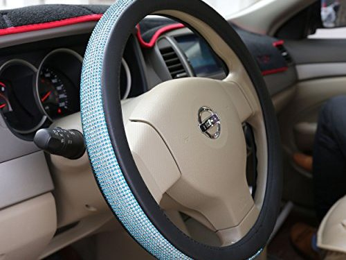 Sino Banyan 2018 Leather Steering Wheel Cover with Crystal Bling Bling Rhinestones for Girls,Lady,Black & SkyBlue Rhinestones,Universal Fit 15″38cm