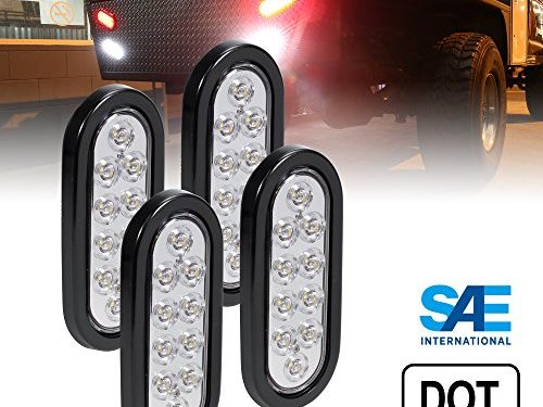 4pc 6″ Oval White LED Trailer Tail Lights DOT Certified Grommet & Plug Included IP67 Waterproof Reverse Back Up Trailer Lights for RV Trucks Jeep