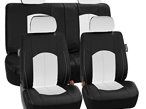 LIMITED TIME ONLY 30% OFF: FH GROUP FH-PU008114 Perforated Leatherette Full Set Car Seat Covers, Airbag & Split Ready, White / Black Color- Fit Most Car, Truck, Suv, or Van