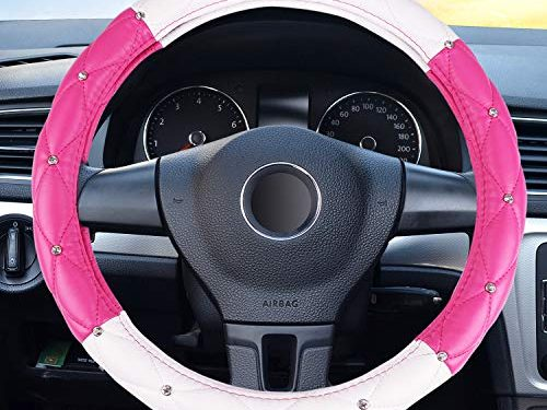 Super PDR Steeing Wheel Cover for Women,Bling Cute Car Steering Wheel Cover Universal 15inch with Crystal Diamond Pink&White