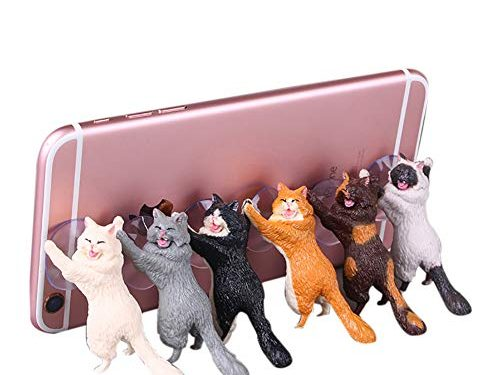 Amamcy 6Pcs Novelty Cute Cat Phone Sucker Holder Desktop Stand for iPhone 6/7/8 Plus Smartphone