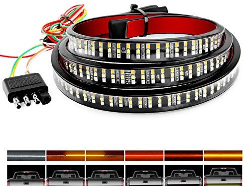Nilight TR-04 Truck Tailgate Bar 60″ Triple Row 504 LED Strip with Red Brake White Reverse Sequential Amber Turning Signals Strobe Lights,2 Years Warranty