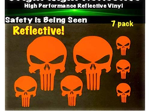 Punisher Skull Orange Reflective 7pc Set Great for Helmets Harley Motorcycle Cell Tablet ipad iPhone