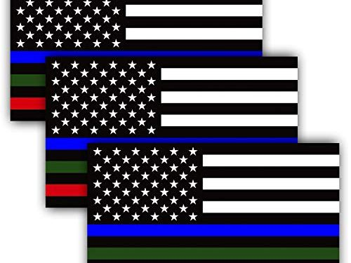 Blue Green and Red Reflective Stripe American Flag Car Stickers – Support Police Military and Fire Officers 3 Pack – Anley 5 X 3 inch Thin Line US Flag Decal