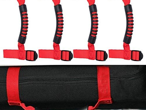 4 x Roll Bar Grab Handles Grip Handle For Jeep Wrangler YJ TJ JK JK JL JLU Sports Sahara Freedom Rubicon X & Unlimited 1955-2018 Roll Bar Red