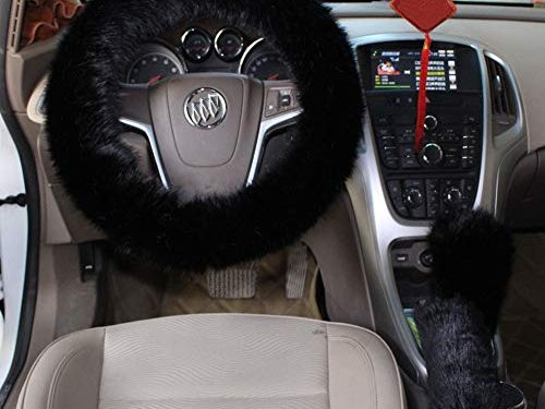 Cxtiy Car Steering Wheel Cover with Handbrake Cover & Gear Shift Cover, Fashion Steering Wheel Wrap Faux Wool Fluffy Soft and Warm in Winter Diameter 14.96″ X 14.96″ 3 Pcs 1 Set Fit Most of CarBlack