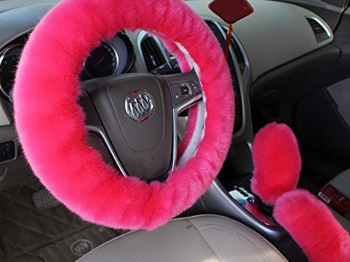 Car Steering Wheel Cover with Handbrake Cover & Gear Shift Cover CXTIY Fashion Steering Wheel Wrap Faux Wool Fluffy Soft and Warm in Winter Diameter 14.96″ X 14.96″ 3 Pcs 1 Set Fit Most of Car Pink