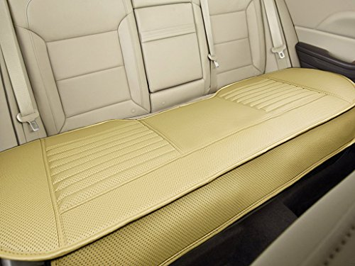 """Back Row 58.3"""" x 18.9"""" – Nonslip Rear Car Seat Cover Breathable Cushion Pad Mat for Vehicle Supplies with PU Leather Beige"""