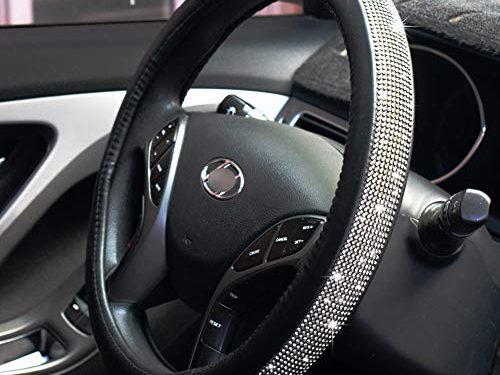 FEENM Steering Wheel Cover Bling Bling Rhinestones Crystals Car Handcraft Steering Wheel Covers Leather for Girls Black