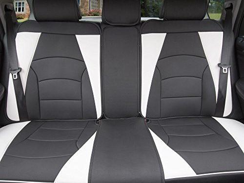 FH Group PU205013WHITEBLACK Bench PU205WHITEBLACK013 Ultra Comfort Leatherette Rear Seat Cushions White and Black