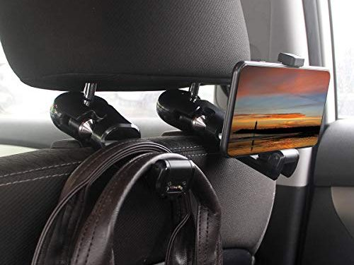 Hooks for Headrest in Car Universal with Phone Bracket and Safety Hammer for Bag Purse Cloth Grocery Car Vehicle Back Seat Headrest Hanger Holder – 1pack Black