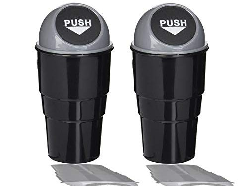 2 PCS – Copapa Office Home and Vehicle Car Auto Garbage Trash Can Gray