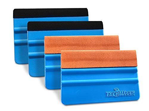 TECKWRAP Black & Orange Felt Edge Decal Squeegee 4 Inch Wrapping Scraper Squeegee Tool for Car Vehicle Window Film Vinyl 2 Pairs