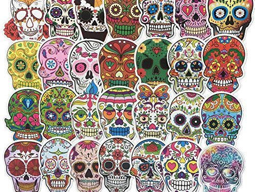 Homyu Stickers Colorful Skull Decals 60-Pcs for Laptops Motorcycle Portable Luggages Ipad Laptops Waterproof Sunlight-Proof