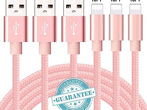 DANTENG Phone Charger 3Pack 10FT Nylon Braided Charging Cables USB Charger Cord, Compatible with Phone Xs MAX XR X 8 8 Plus 7 7 Plus 6 6 Plus Pad and Pod – Pink