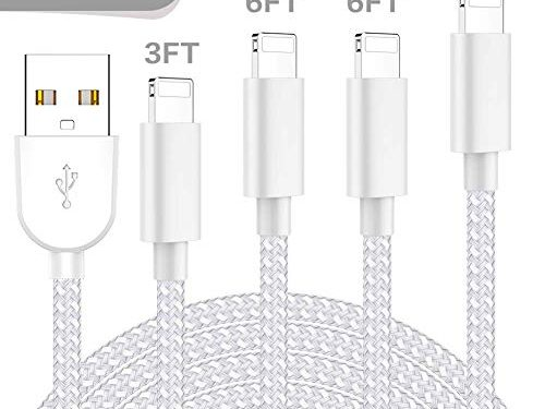 WUXIAN MFi Certified Phone Charger Cable 4 Pack 3FT/6FT/6FT/10FT Extra Long Nylon Braided Fast Charging& Syncing Cord Compatible with iPhone Xs/Max/XR/X/8/8/Plus/7/7 plus/6s/ 6s Plus More