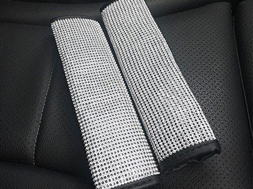 U&M 2 Packs Bling Bling Seat Belt Shoulder Pads, Luster Crystal Car Seatbelt Covers Diamond Car Decor Accessories for Women